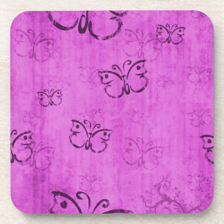 Pink Butterflies Beverage Coaster