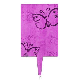 Pink Butterflies Rectangular Cake Picks