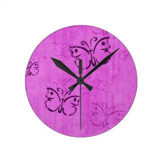 Pink Butterflies Round Wall Clocks