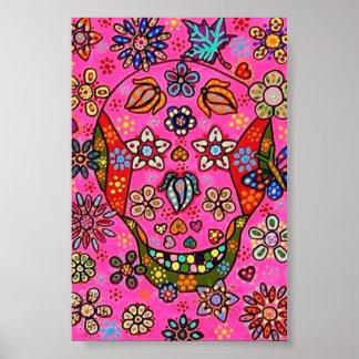 Pink Butterflies Flowers Sugar Skull Poster