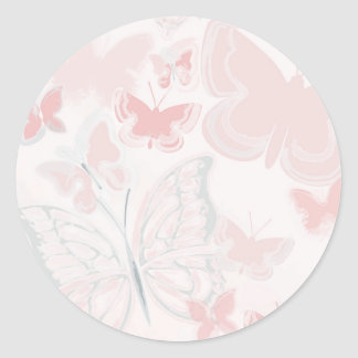 Pink Butterflies Flying Butterfly Watercolor Classic Round Sticker