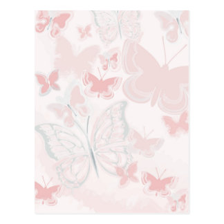 Pink Butterflies Flying Butterfly Watercolor Postcard