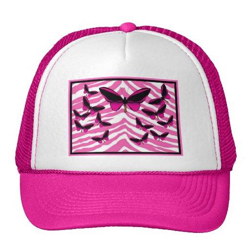 PINK BUTTERFLIES ON ZEBRA PRINT HATS