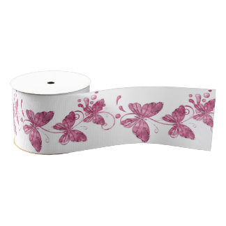 Pink Butterflies Ribbon Spool Grosgrain Ribbon