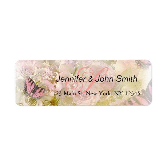 Pink butterflies roses return address label