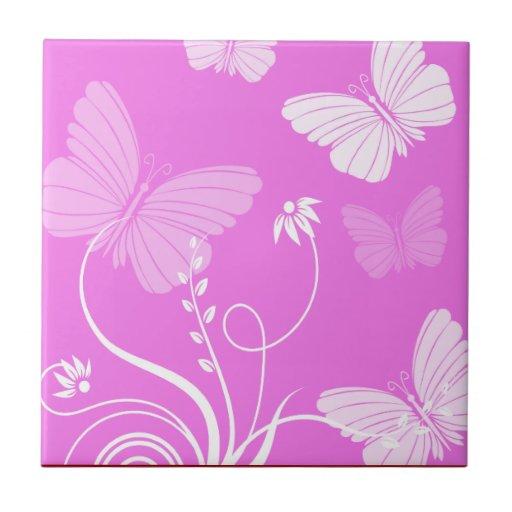 Pink butterflies Tile