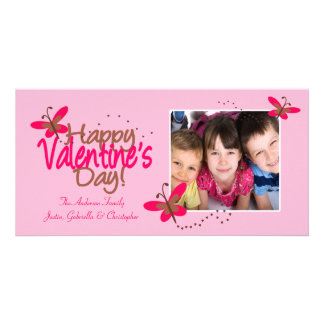 PINK Butterflies Valentine's Day Customised Photo Card