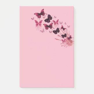 Pink Butterflies Watercolor Art Post-It Notes