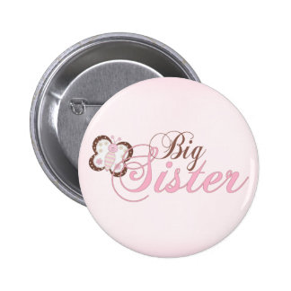 Pink Butterfly 2 Big Sister 6 Cm Round Badge