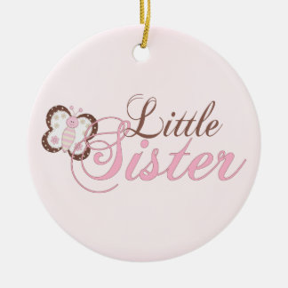 Pink Butterfly 2 Little Sister Christmas Ornament