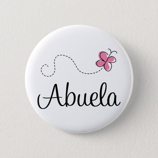 Pink Butterfly Abuela Gift Tee 6 Cm Round Badge