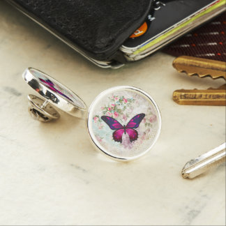 Pink Butterfly and Shabby Vintage Roses Lapel Pin