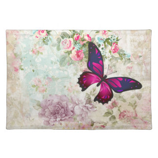 Pink Butterfly and Shabby Vintage Roses Placemat