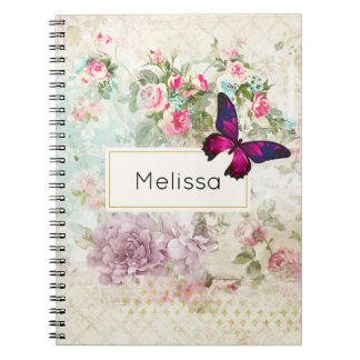 Pink Butterfly and Shabby Vintage Roses Spiral Notebook