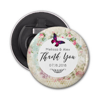 Pink Butterfly and Shabby Vintage Roses Thank You Bottle Opener
