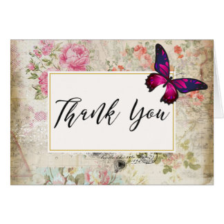 Pink Butterfly and Shabby Vintage Roses Thank You Card
