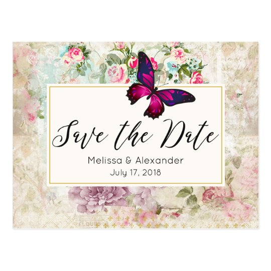 Pink Butterfly and Vintage Roses Save The Date