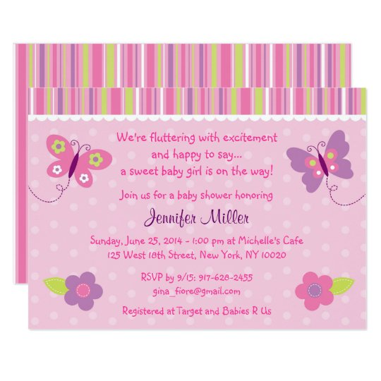Pink Butterfly Baby Shower Card