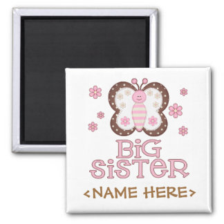 Pink Butterfly Big Sister Fridge Magnets