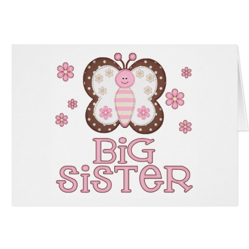 Pink Butterfly Big Sister Note Card