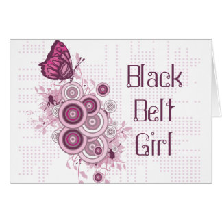 Pink Butterfly Black Belt Girl Greeting Card