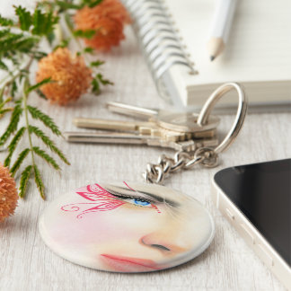 Pink Butterfly Blue Eye Keychain