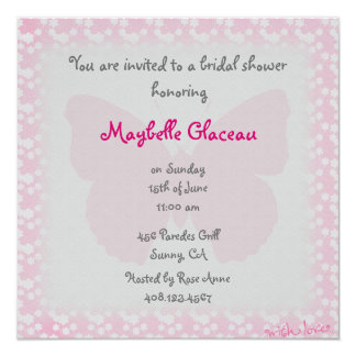 Pink Butterfly Bridal Shower 13 Cm X 13 Cm Square Invitation Card