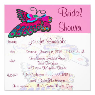 Pink Butterfly Bridal Shower Custom Announcement
