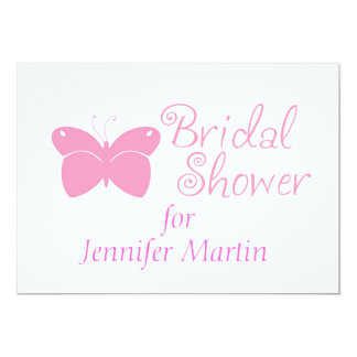 Pink Butterfly Bridal Shower Invitation
