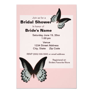 Pink Butterfly Bridal Shower Invitations