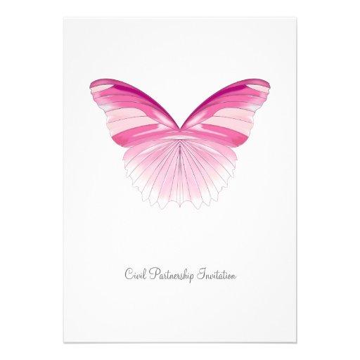 Pink Butterfly - Civil Partnership Invitation