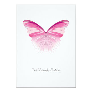 Pink Butterfly - Civil Partnership Invitation 13 Cm X 18 Cm Invitation Card