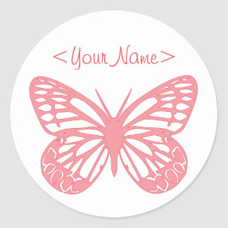 Pink Butterfly Classic Round Sticker
