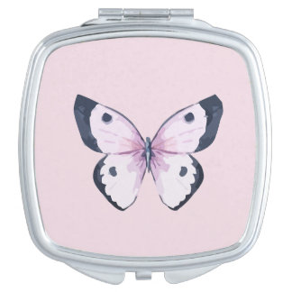 Pink Butterfly Compact Mirror