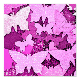 Pink Butterfly Dreams 13 Cm X 13 Cm Square Invitation Card