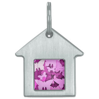 Pink Butterfly Dreams Pet ID Tag
