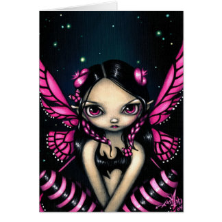 """Pink Butterfly Fairy"" Greeting Card"