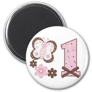 Pink Butterfly First Birthday 6 Cm Round Magnet