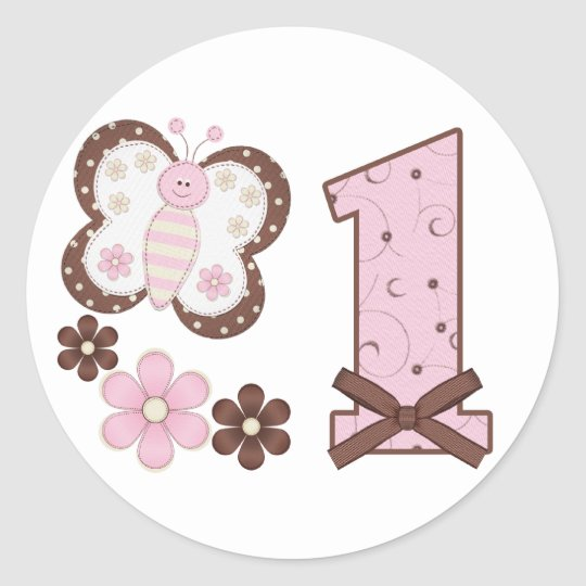 Pink Butterfly First Birthday Classic Round Sticker