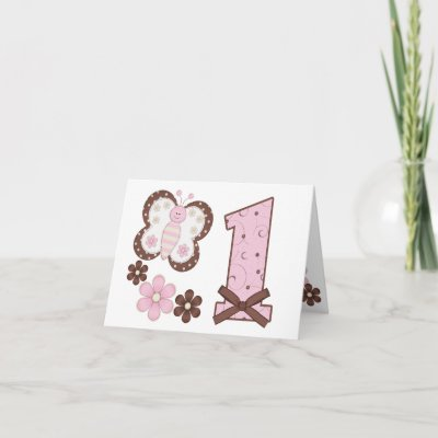 Pink Butterfly First Birthday Invitations Greeting Card