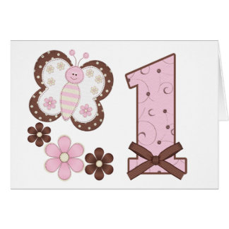 Pink Butterfly First Birthday Invitations Note Card