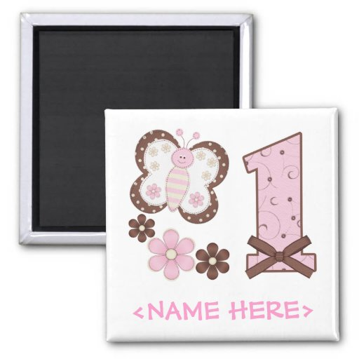 Pink Butterfly First Birthday Magnets