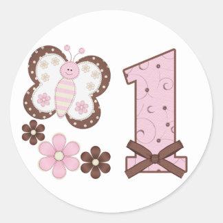 Pink Butterfly First Birthday Round Sticker