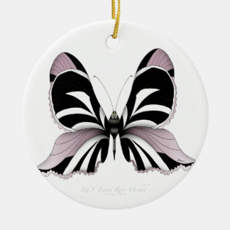 Pink Butterfly Forest Rose Orchid Christmas Ornament