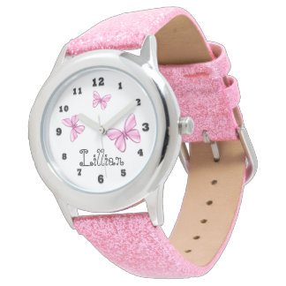Pink Butterfly Girly Glitter Butterfly Wrist Watch