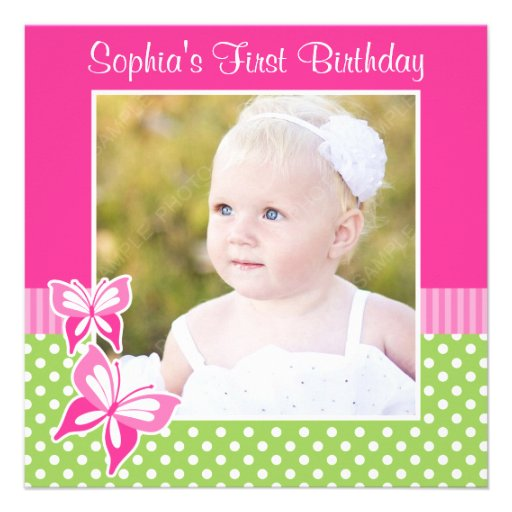 Pink Butterfly Green Polka Dot 1st Birthday Photo Announcement