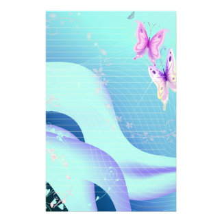 Pink butterfly in waves of blue Stationary Stationery Paper