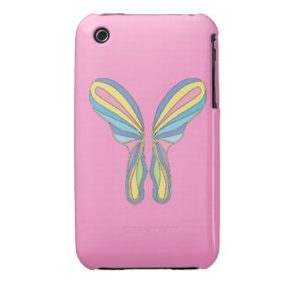Pink Butterfly iPhone 3 Case - Rainbow Butterfly