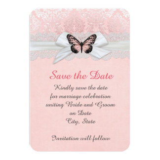 Pink Butterfly Lace Ribbon Damask Save the date Card