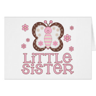 Pink Butterfly Little Sister Card